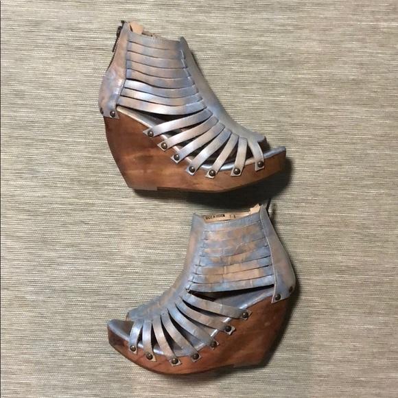 66b92be2c705 Bed Stu Shoes - Bed Stu cobbler series lux blue wedges size 7